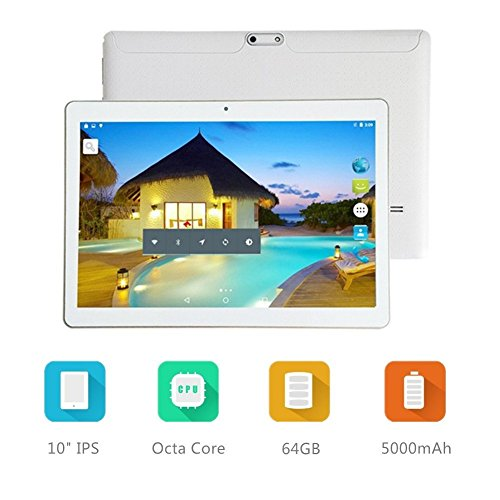 LLLCCORP 10 inch Octa Core 3G Unlocked Tablet Android 6.0 with Dual SIM Card Slot 4GB RAM 64GB ROM WIFI Bluetooth GPS Phone Call Tablets Support Netflix Google Play Store (White)