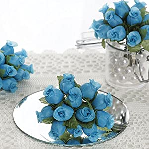 144 pcs Mini Rose Buds - Crafts DIY Wedding Favors Supplies Decorations Sale (Turquoise) 69
