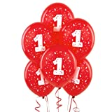 "#1 Red 11"" Matte Balloons (6 count)"