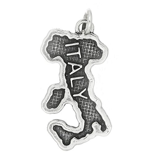 Sterling Silver Oxidized Textured Country Map Traditional Charm (Map Usa Sterling Silver Charm)