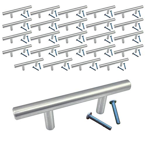 (25 Pack, L: 4 Inches CC: 2 Inches) Swiss Kelly Satin Nickel Kitchen Cabinet Bar Pull Drawer Handle