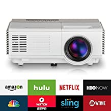 EUG Portable Home Theater Pico Projector, Multimedia LED LCD Digital Beamer with HDMI Android System, Support 1080P WiFi Miracast and Airplay Wireless HDMI Connectivity, for Movie Video Games Outdoor