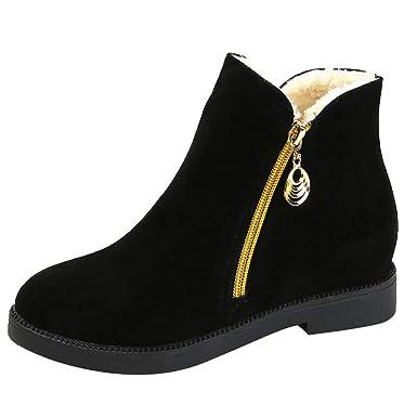 987acb865d9d4 POLP Botas de Nieve Mujer Invierno Fur Botines Planos Calientes Pantuflas  Casa Algodón Zapatillas de Casa para Mujer Cremallera Botines para Adulto 36-40   ...