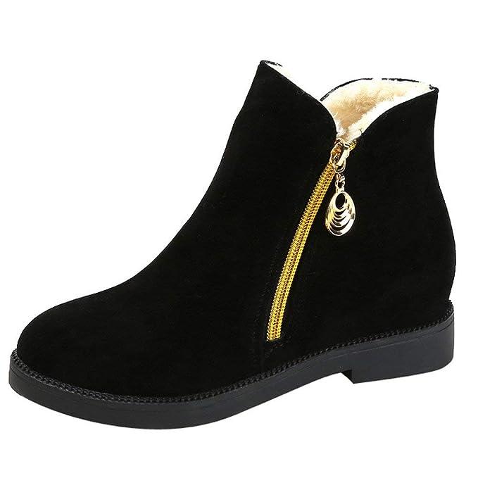 POLP Botas de Nieve Mujer Invierno Fur Botines Planos Calientes Pantuflas Casa Algodón Zapatillas de Casa para Mujer Cremallera Botines para Adulto 36-40: ...