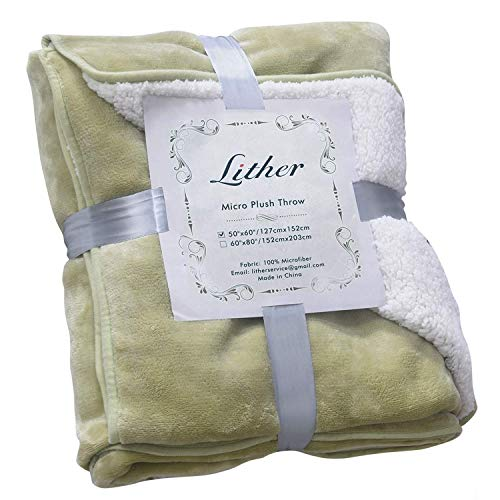 LITHER 500GSM Sherpa Fleece Blanket Throw Size Sage Plush Reversible Lightweight Throw Blanket, Fuzzy Soft Blanket for Sofa Couch, 50x60inch