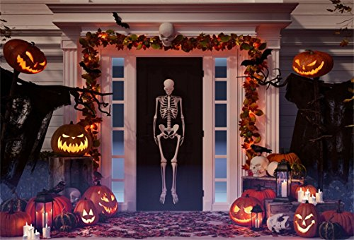 CSFOTO 6x4ft Background for Halloween Decorated House with Pumpkins Lantern and Skulls Skeleton Photography Backdrop Horror Scare Tradition Holiday Celebration Photo Studio Props Polyester Wallpaper]()