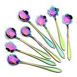 Flower Spoon Set, Vankcp Coffee Spoon Ice Cream Spoon Tea Spoon Sugar Spoon 304 Stainless Steel 8 Pcs, Rainbow