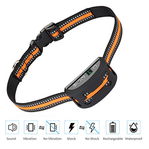 iWings Shock Collar for Dogs Upgraded Smart Detection Module with Triple Anti Barking Modes Collar: Beep/Vibration/Shock for Small, Medium, Large Dogs Breeds,Waterproof with Orange Strap