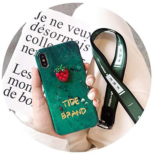 Emerald AppleX Mobile Phone Shell Lanyard Iphone7plus All-Inclusive 7 Anti-Fall 8 Female Xsmax Apply,Strawberry,iPhoneXR,Package