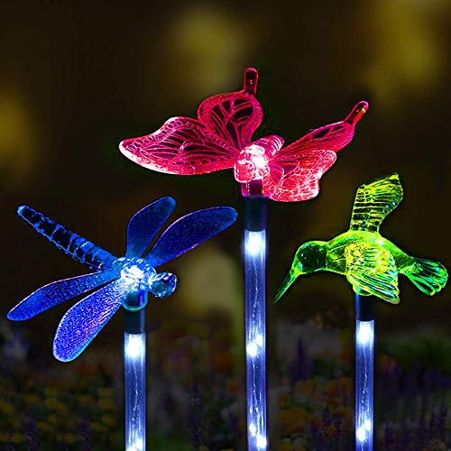 Sooreally Solar Garden Lights, Solar Stake Multi Color Changing Decorative Fiber Optic Butterfly Hummingbird Dragonfly LED Lights for Holiday, Gift, Outdoor Path, Yard, Lawn, Patio (3 different pack) (Ornamental Garden Lights)