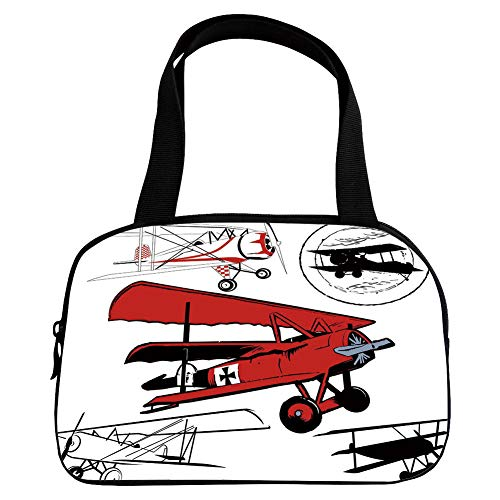 (Multiple Picture Printing Small Handbag Pink,Vintage Airplane Decor,Collection of Various Biplanes Nostalgic Antique Silhouettes,Red White Black,for Girls,Comfortable Design.6.3