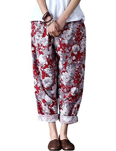 Youlee Mujeres Verano Cintura Elástica Floral Impreso Pantalón Rojo