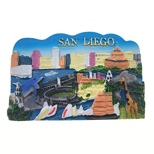 Refrigerator Magnets Resin 3D Funny San Diego USA City Travel Souvenirs Fridge Stickers Magnetic Fridge Magnet for Whiteboard Home Kitchen Decoration Accessories Arts Crafts Gifts -