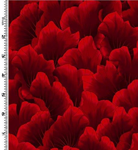 Kona Bay Kona Bay - Kona Bay 'Lush' Red Tonal Leaves Blender Cotton Fabric - 2-Yard 28-Inch Piece