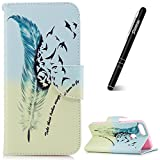 Slynmax Huawei P Smart Phone Case, Huawei P Smart Wallet Case, Ultra Slim Lightweight Bookstyle Printing Blue-Green Feather Bird Design Premium PU Flip Phone Cover Folio Leather Wallet Case