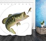 Bass Fishing Shower Curtain LB Fishing Bass Lure Shower Curtain Set, Fishing Outdoor Sports Theme House Decorations, 70x70 Shower Curtain Set Waterproof
