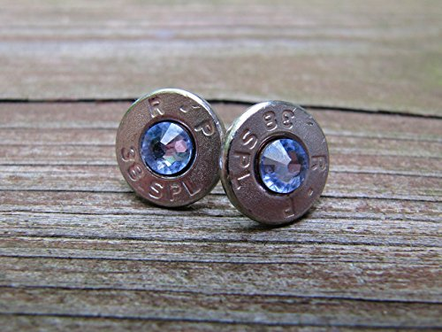 - Bullet Jewelry 38 Special Bullet Earrings with Tanzanite Swarovski Crystal Accents - Small Thin Cut