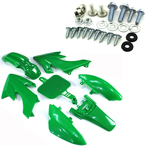 TC-Motor Green Plastic Fairing Kit Fender Body Work + Complete Mounting Screws Bolts For Honda XR50 CRF50 Pit Dirt Bike 50cc 90cc 110cc 125cc 150cc 160cc SSR Taotao (Plastic Body Fairing)
