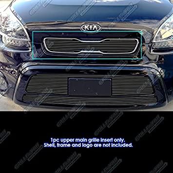 APS Compatible with 2012-2013 Kia Soul Upper Main Upper Billet Grille Grill Inserts N19-A16956K