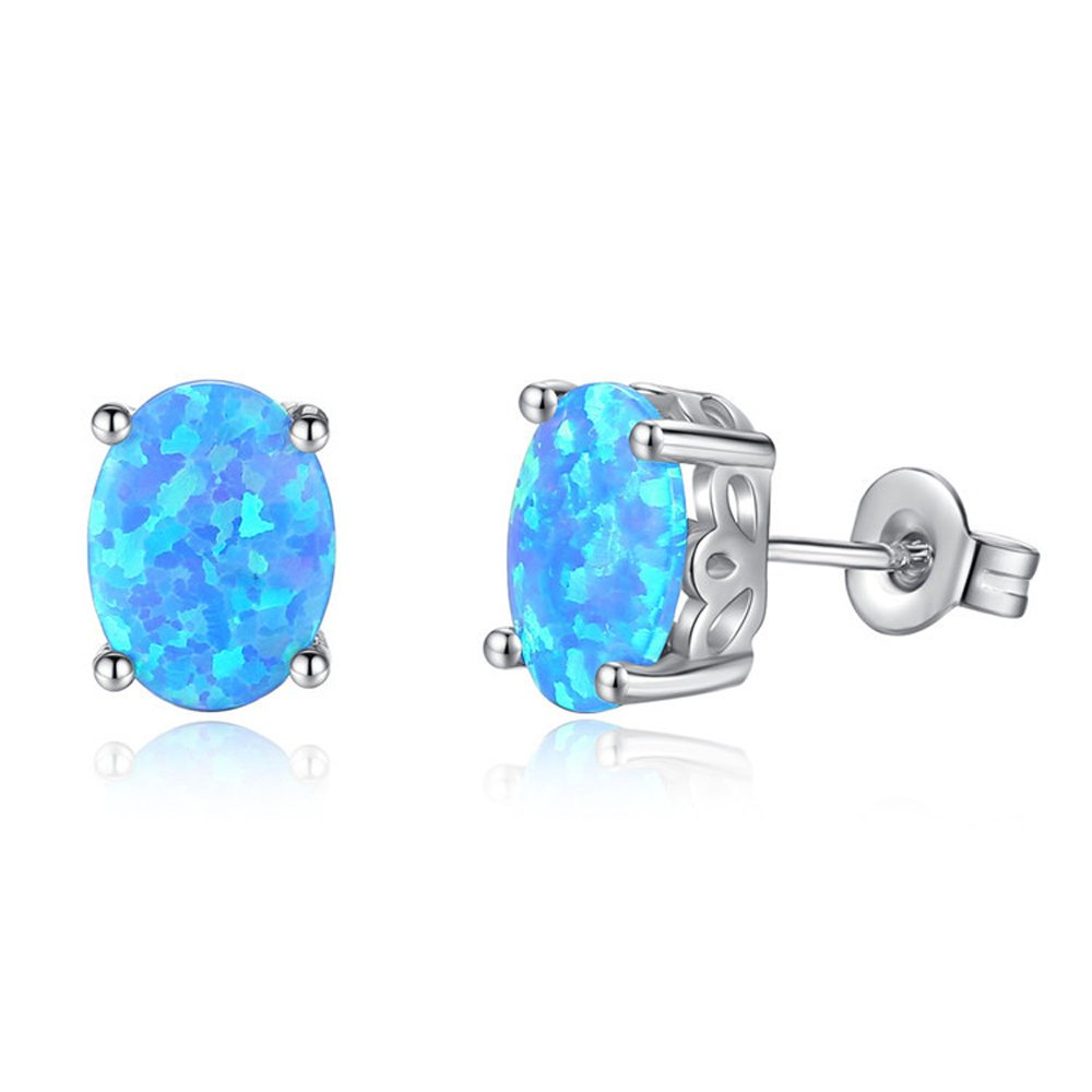 Hello Spring 18K Gold Plated Oval Opal Stud Earrings 6x8MM