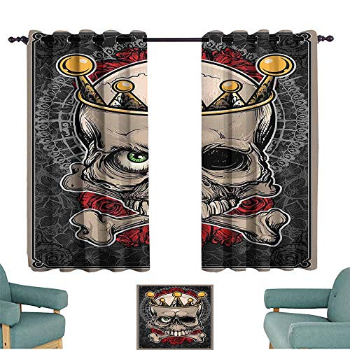 Mannwarehouse Gothic Kids Room Curtains Skull with Crown Roses Bones Dead King Halloween Illustration Art for Living, Dining, Bedroom (Pair) 63