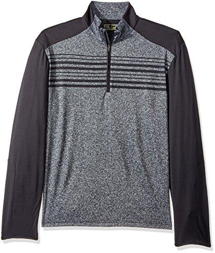 PGA TOUR Men's Long Sleeve 1/4 Zip Pullover, Heather Chest Stripe Caviar, M ()