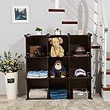 SONGMICS storage rack Plastic Storage Cube Units DIY Modular Closet Cabinet Bookcase 9-Cube Brown ULPC33Z