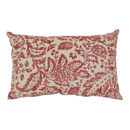 Pillow Perfect Damask Decorative Rectangle Toss Pillow, 18-1/2-Inch by 11-1/2-Inch, Red/Tan