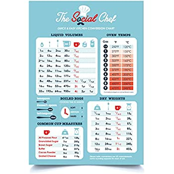 Amazon The Social Chef Magnetic Kitchen Conversion Chart Home