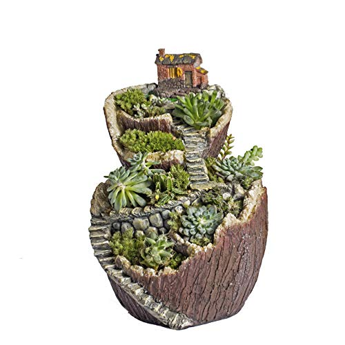 NCYP Flower Planter Pot Miniature Tree House Stump Cottage Broken Bucket, Large, Multicolor ()