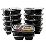 HomEquip 2 Compartment Bento Lunch Boxes with Lids (12 Pk)- Reusable / Disposable Portion Control Food Saver Containers-Meal Prep for Freezer Storage- BPA Free