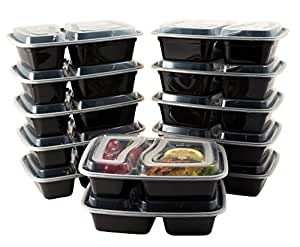 Bento Lunch Boxes with Lids - 2 Compartment Microwave, Freezer and Dishwasher Safe Food Storage and Meal Prep Containers - Stackable, BPA Free, 12 Pack - by HomEquip
