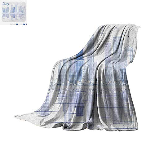 Luoiaax Chicago Skyline Warm Microfiber All Season Blanket Skyscrapers Reflection on Lake Michigan USA City Architecture Print Summer Quilt Comforter 80