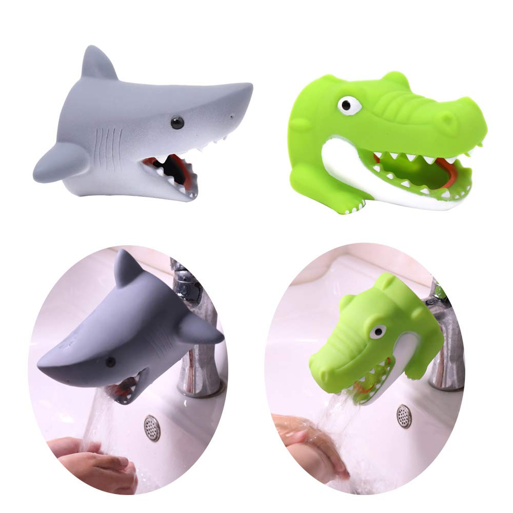 JAWM Faucet Extender, Silicon Animal Spout Sink Handle Extender for Toddlers Kids, Baby Safe and Fun Hand-Washing (2 Pack - Shark, Alligator)