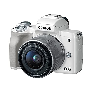 Canon EOS M50 Mirrorless Camera Kit w/ EF-M15-45mm Lens and 4K Video (White)