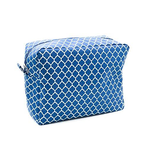 Navy Cosmetic Bag, Large Sized Makeup Toiletry Bag, Trellis Quatrefoil Arabesque Pattern (Large)