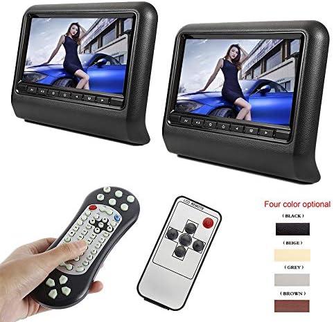 DVDドライブ ユニバーサル2PCSカーヘッドレストDVDプレーヤー9インチSDプレーヤー枕モニタLCDスクリーン YYFJP