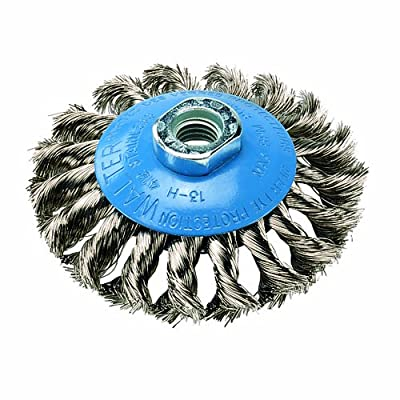 "Walter Saucer-Cup Knot-Twisted Brush, Threaded Hole, Stainless Steel 304, 7"" Diameter, 0.020"" Wire Diameter, 5/8""-11 Arbor, 10000 Maximum RPM"