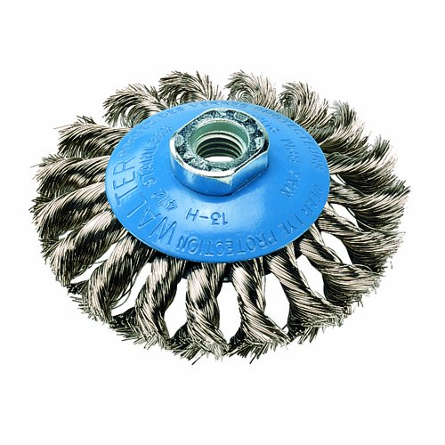 Walter Saucer-Cup Knot-Twisted Brush, Threaded Hole, Stainless Steel 304, 4