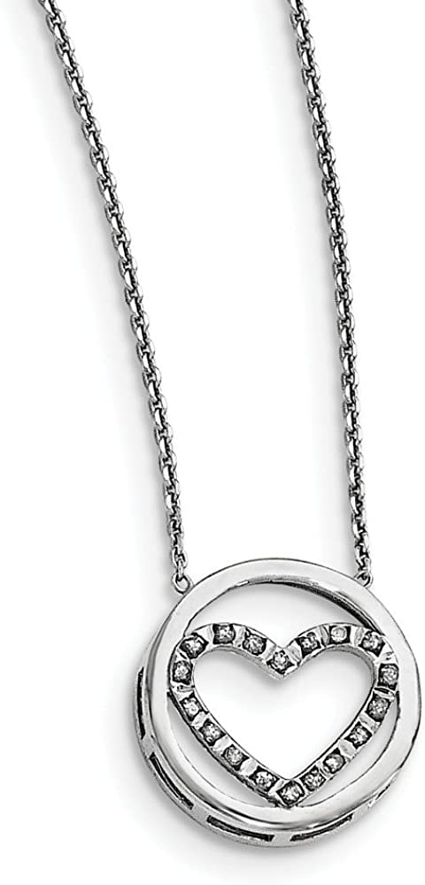 FB Jewels Solid 925 Sterling Silver Cubic Zirconia CZ Pendant and Chain