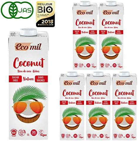 EcoMil エコミル 有機ココナッツミルク ストレート 無糖 1000ml×6本 有機JAS認定品