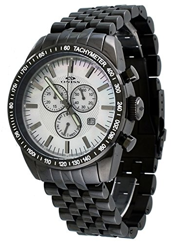 Mop Chronograph Black Dial - Oniss #ON8289-MIPGN Men's Gunmetal Stainless Steel White MOP Dial Chronograph Watch