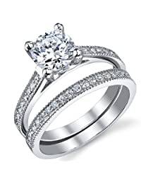 Metal Masters Co.® 1.25 Carat Round Brilliant CZ Sterling Silver 925 Wedding Engagement Ring Band Set Sizes 4 to 11