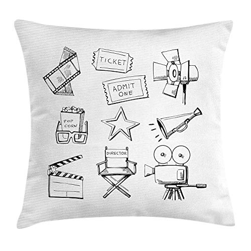 HFYZT Movie Theater Throw Pillow Cushion Cover, Sketchy Movie Icon Set in Black and White Entertainment Industry Media TV, Decorative Square Accent Pillow Case, 18 X 18 Inches, Black White]()