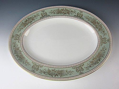 Wedgewood Porcelain Sage Green Rim COLUMBIA Oval Serving Platter EXCELLENT