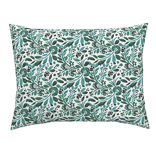 (Roostery Jade Euro Knife Edge Pillow Sham Jade Green Floral White Modern Home Decor Jade Floral Limited Color Watercolor Green Emerald by Crystal Walen 100% Cotton Sateen)