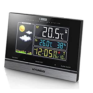 Hyundai Estación meteorológica, Reloj, higrómetro, termómetro, pronóstico del tiempo, LCD, Pantalla a Color, Sensor exterior, Fase lunar, pantalla digital, Wetterstation 2