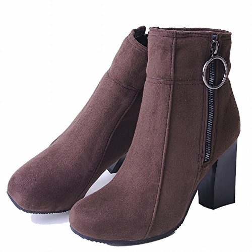 Brown Boots Shoes Mee Women's Snow High Heel Short Zip a8xqfwU