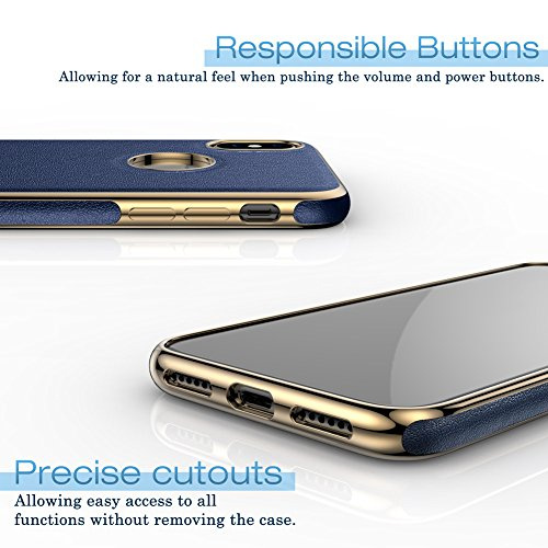 iPhone X Case, LOHASIC [Premium Leather] Slim & Thin Soft Flexible Body Luxury [Gold Electroplated] Bumper Anti-Slip Grip Scratch Resistant Protective Cover Cases for Apple iPhone X 10 - [Navy Blue] Photo #6