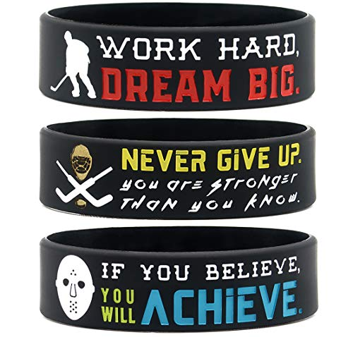 (6-Pack) Motivational Hockey Wristbands with Sports Quotes - Hockey Gifts Jewelry Accessories for Hockey Players Team Awards Party Favors - Unisex for Men Women Youth Teen Girls Boys